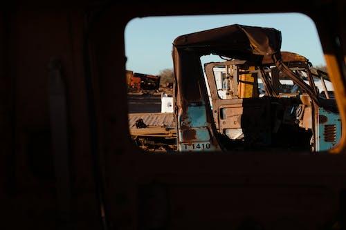 Metal ruins of damaged cars