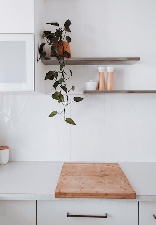 Interior of light kitchen in modern apartment
