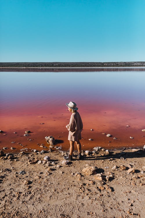 Back view of unrecognizable female in stylish clothes standing on shore near lake with calm pink water under cloudless sky in daytime