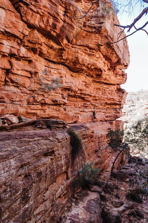 Rough sandstone rocky formation in mountainous terrain
