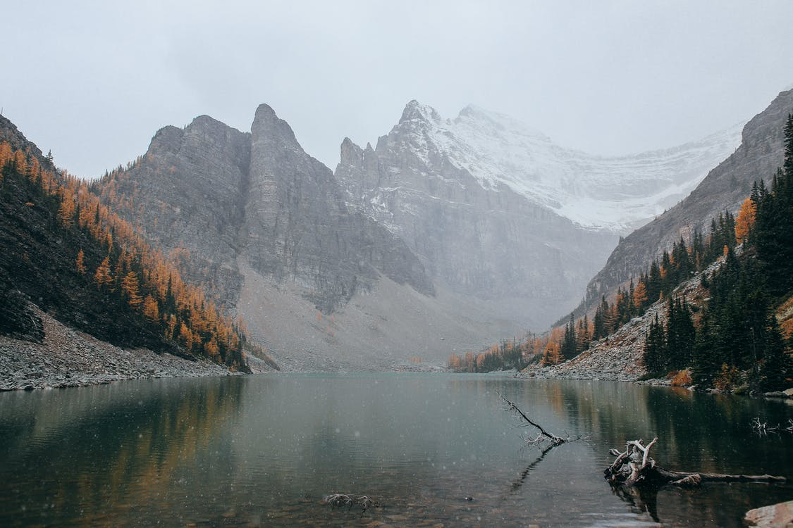 Calm lake surrounded by mountains and forest