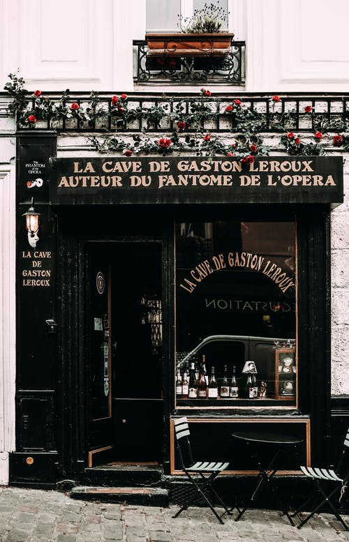 Classic cafe with inscription on street