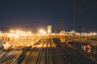 night, industry, rails