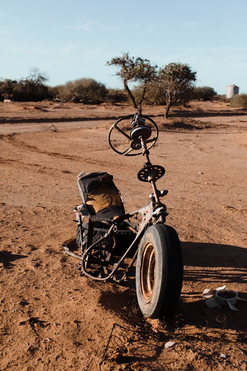 Shabby parts of automobile with tire and steering wheel placed on sandy ground in countryside on junkyard with green trees