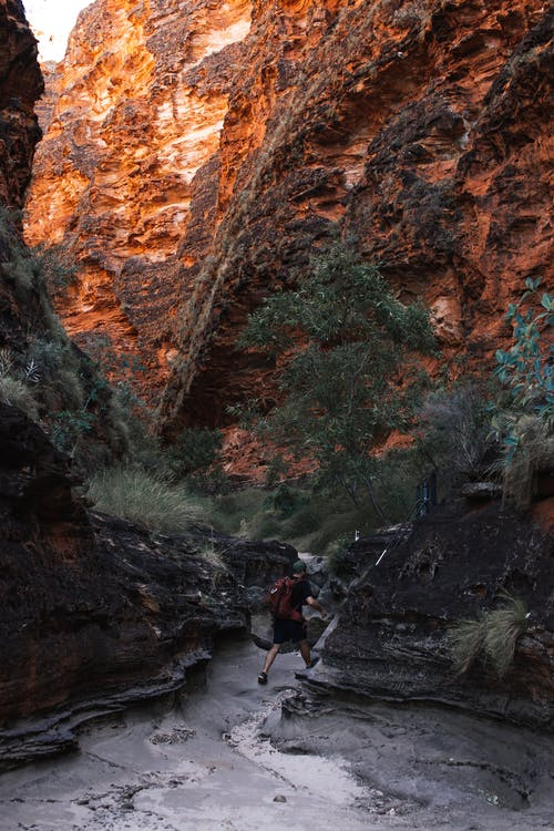 Back view of unrecognizable male traveler in casual clothes walking on rough narrow path among massive rocky mountains in Purnululu National Park on sunny day