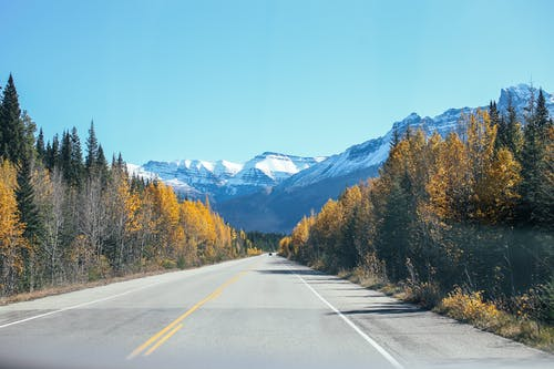 Empty straight asphalt roadway between colorful trees against blue sky and mountain ridge with peaks covered with snow in nature