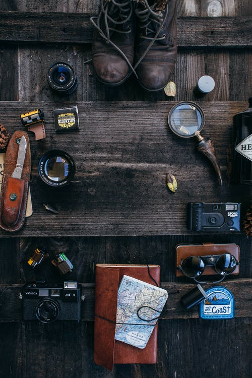 Composition of supplies for photographing