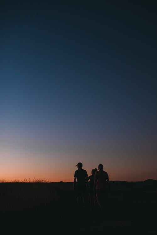 Back view silhouettes of anonymous travelers walking along grassy meadow against cloudless dark sunset sky