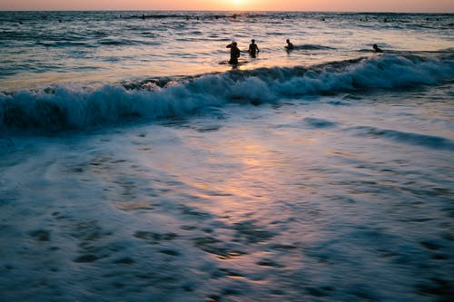 People swimming in sea at sunset