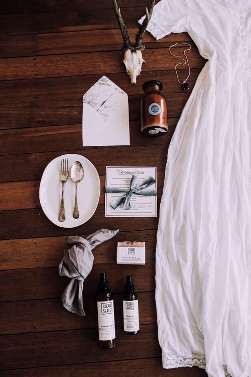 White retro dress near assorted decorative items on wedding day