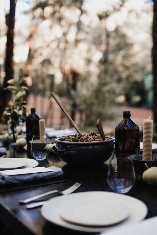 Delicious food on served table in garden
