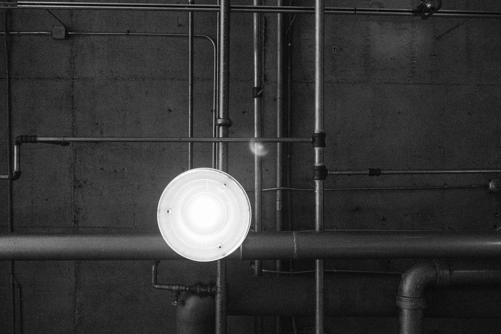 Black Pipes and White Pendant Lamp