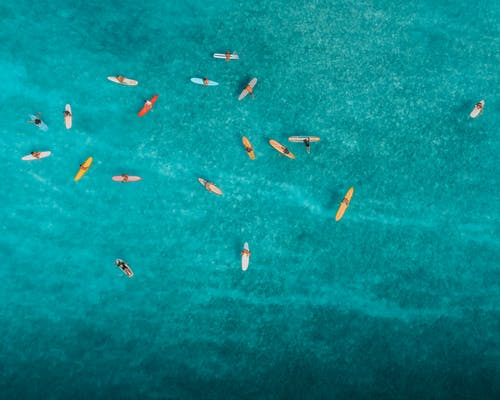 Aerial View of People Swimming on Sea