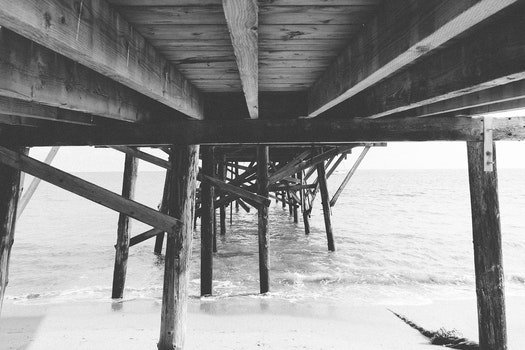 Free stock photo of jetty, landing stage, sea, black-and-white
