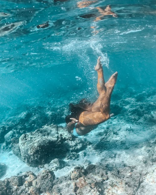 Woman in Blue Bikini Swimming in Water