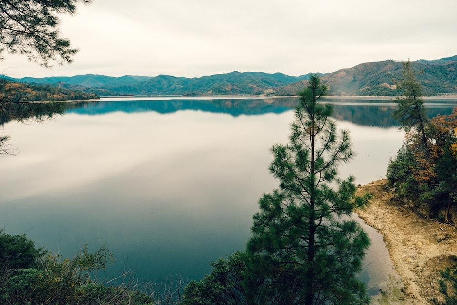 hills, lake, nature