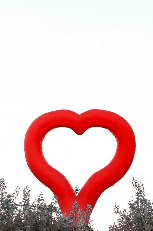 Red Heart Shaped Balloon With White Background