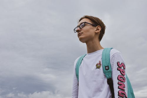 Free stock photo of backpack, boy, glasses, human