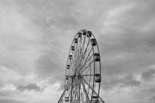 Free stock photo of black and white, ferris wheel, sky