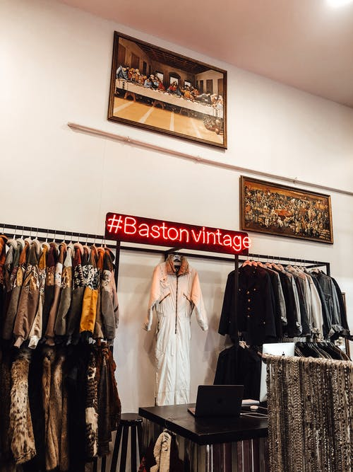 Stylish vintage shop with clothes