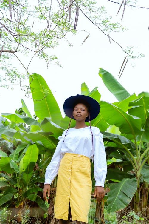 Gratis stockfoto met Afro-Amerikaanse vrouw, bedachtzaam, bladeren, blauwig