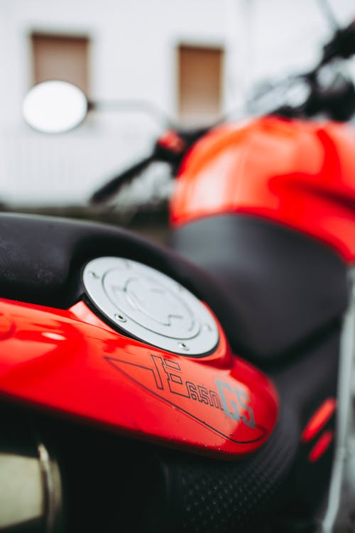 Red and Black Motorcycle in Close Up Photography