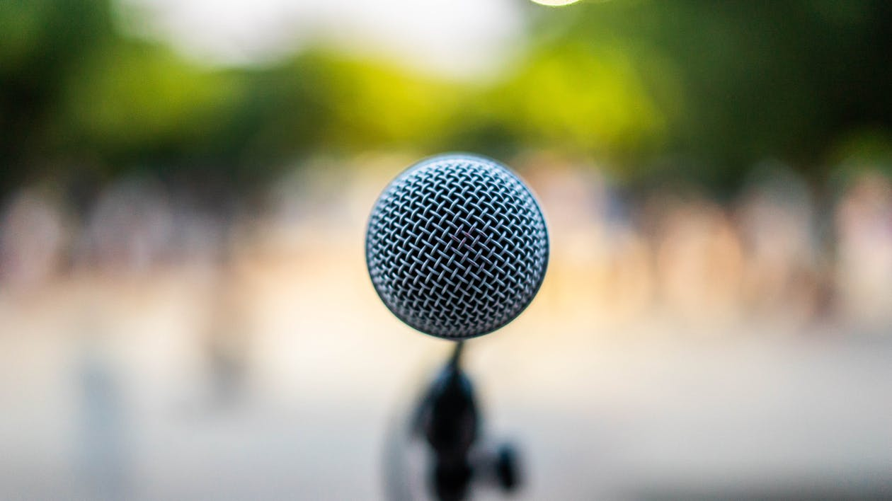 Microphone on stage during performance