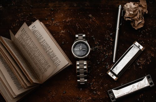 Wristwatch placed near open book