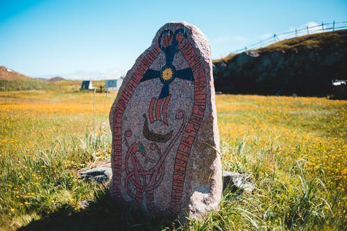 Aged Nordic runestone located on blooming field in countryside