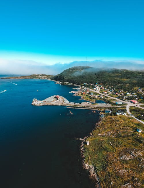 Picturesque drone view of coastal town