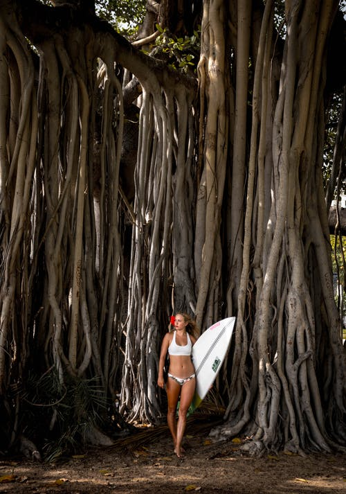 Young athlete woman with surfboard near exotic trees