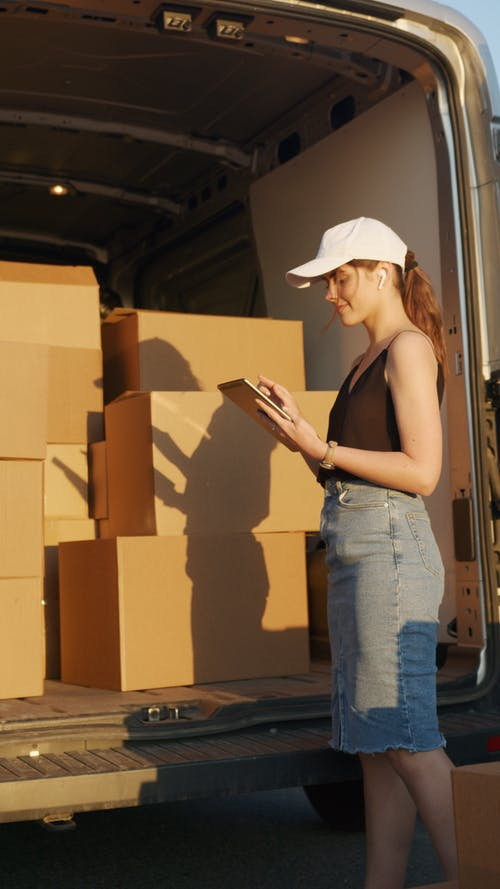 Woman Checking Deliveries