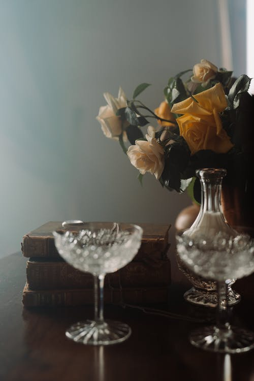 Yellow Roses in Clear Glass Vase