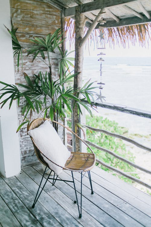 Small round chair by green plant on balcony in daytime
