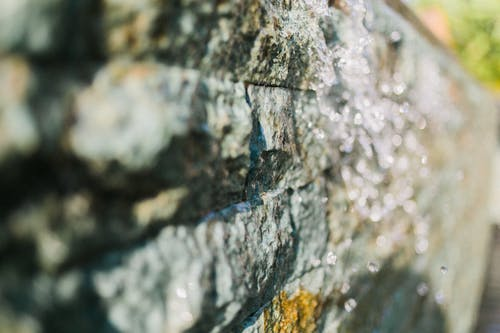 Wet stone surface in closeup