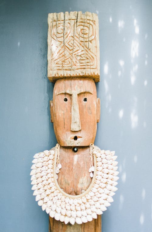 Old wooden statuette in necklace