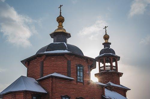 Old church in snowy winter day