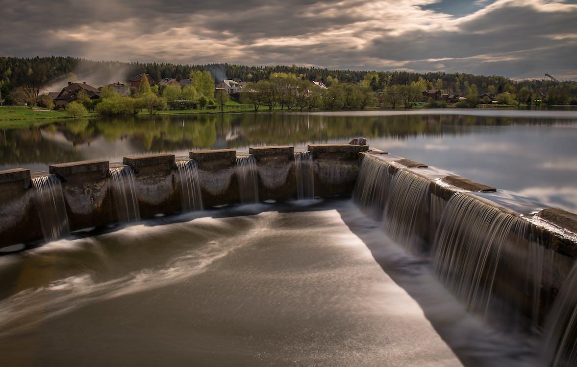 Gray Concrete Water Dam