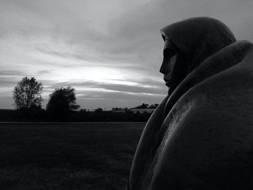 Free stock photo of black and white, sculpture, sunset