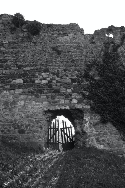 Free stock photo of black and white, castle, old gate