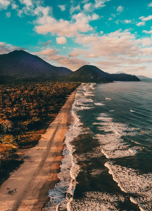 Drone view spectacular coastline in tropical country