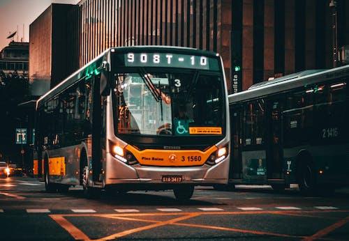 Modern bus on city street at sundown