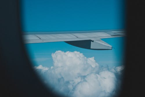 Free stock photo of airplane, airplane window, flying