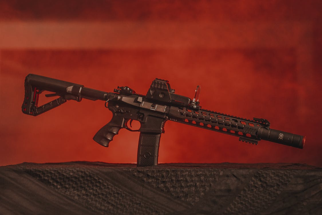 Black Assault Rifle on Black Textile