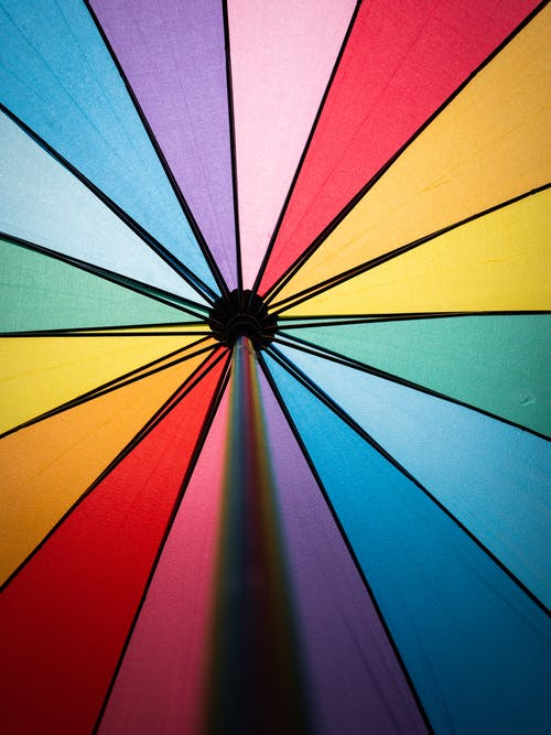 Blue Green and Pink Umbrella