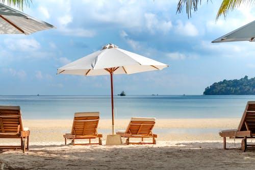 Deckchairs and umbrellas on sandy beach