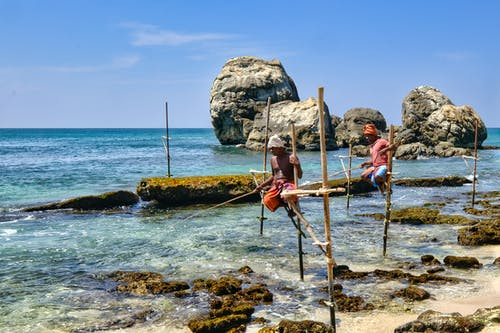 Men Holding on s Bamboo Pole While Fishing