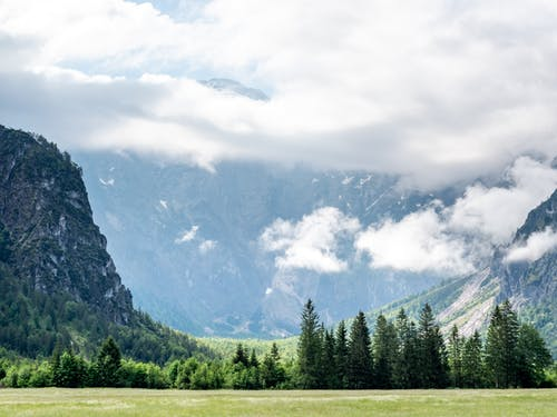 Green Trees and Mountains Under White Clouds
