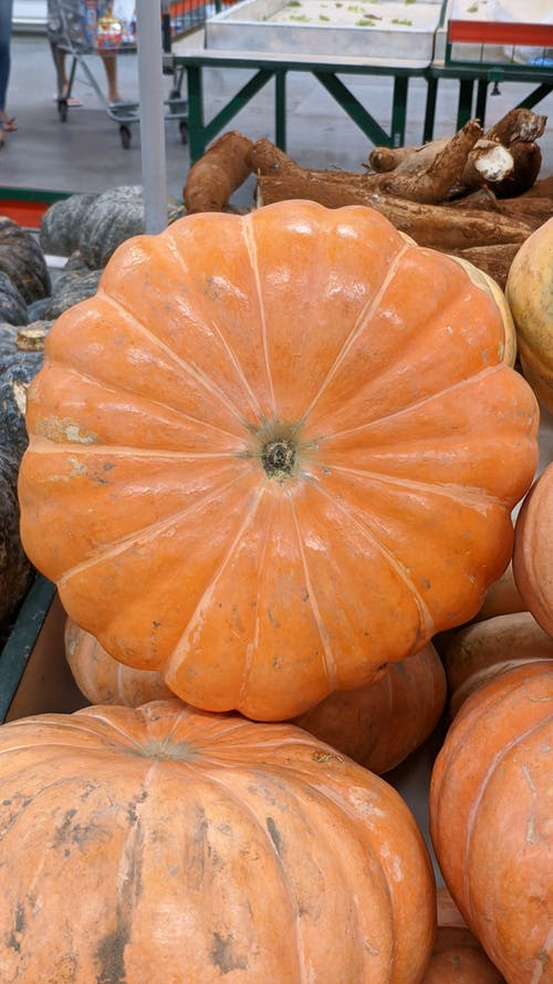 Ripe pumpkins heaped on stall in market