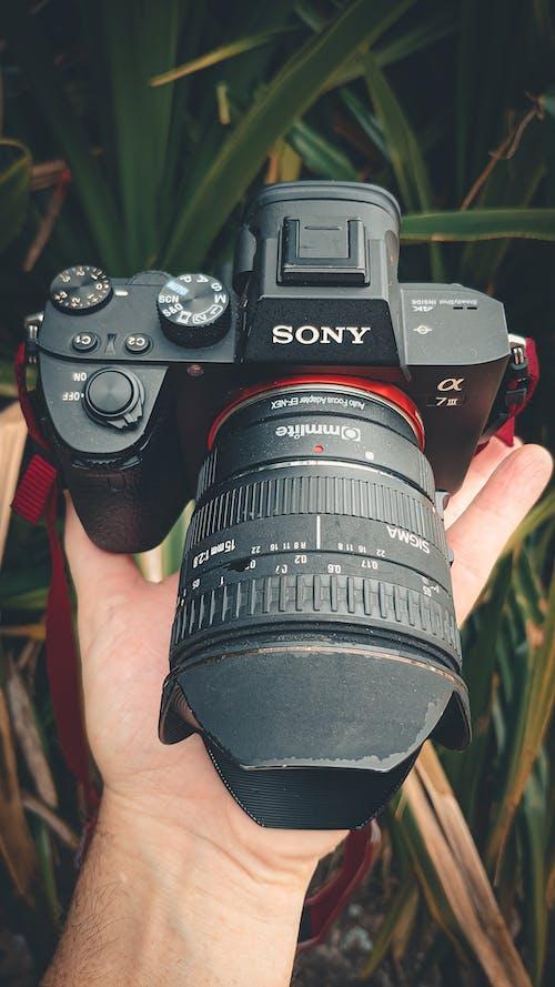 Faceless photographer demonstrating digital photo camera on street